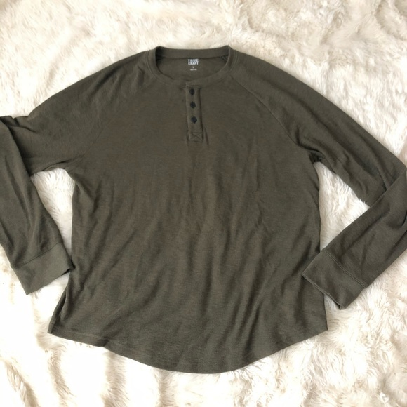 True Craft Other - Men's olive green thermal Henley shirt large